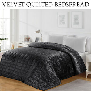 Luxury Crushed Velvet Bedspread Quilted Comforter Bed Throw Double Size Bedding