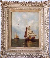 Arthur Quartley (1839-1886) Original O/C Painting of Ships in Raritan Bay