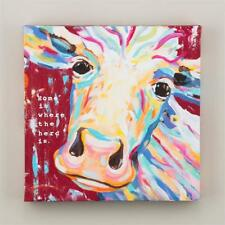 "NEW GLORY HAUS CANVAS PRINT - COW ""HOME IS WHERE THE HERD IS""  12"" x 12"""