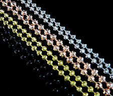 NEW MEN'S WOMEN YELLOW,WHITE,ROSE GOLD FINISH MOON CUT BEADED CHAIN 24 INCH 4 MM