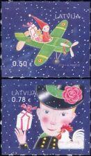 Letonia 2016 Navidad Saludos// Avión/elf/Teddy Bear/MUÑECA 2v S/A Set (lv1008)