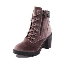 Madden Girl Womens Combat Taupe Velvet Combat Boots Shoes 7.5 Medium
