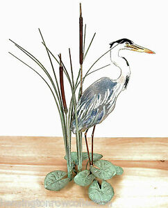 FIGURINES - BLUE HERON METAL TABLETOP SCULPTURE - RIGHT FACING - FREE SHIPPING*
