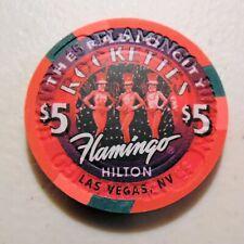 $5 CASINO CHIP, FLAMINGO HILTON, LAS VEGAS, NEV. ROCKETTES  USED
