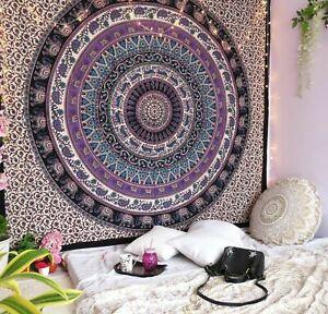 Indisches Mandala 100% Baumwolle Wandteppich Heim Dekor Hippie Tagesdecke Matte