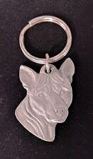 Vintage Rawcliffe I Love My BASENI Pewter Dog Keychain Key Ring Picture Art 1984