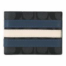 Coach Men's Signature Canvas Varsity Stripe Gray Slim Billfold Wallet F26173