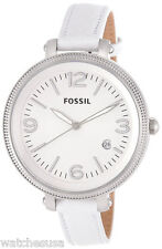 Fossil ES3276 Heather White Dial Leather Strap Women's Watch