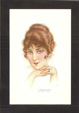 POSTCARD:  SIGNED ARTIST: J.K. READING - ART DECO GLAMOUR GIRL PORTRAIT - Unused