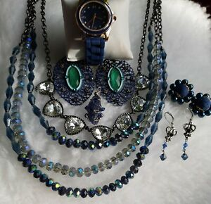 Blue Multistrand Faceted Crystal Necklace, New Watch, 3 Pairs Of Earrings &...