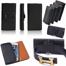 Universal Leather Holster Belt Pouch Phone Case Cover +Clip for Various Mobile