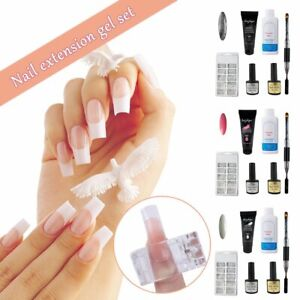 6x Poly Builder UV Gel Polish DIY Kit Jelly Crystal Nail Quick Extension POLY @I