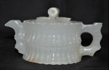 old China natural White jade stone master pure Hand carved teapot tea pot maker