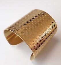 New Michael Kors MK Heritage Monogram Logo Wide Cuff Bracelet Gold $195 Crystal