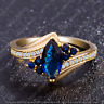 4Ct Marquise Cut Blue Diamond Solitaire Engagement Ring 14K Yellow Gold Finish