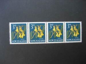 NEW ZEALAND 1963 3d KOWHAI COIL STRIP(wmk sideways) NHM SG 785e