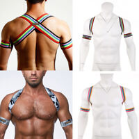 Men Chest Harness Body Rainbow Bondage Costume Neck Elastic Straps w/ 2* Armband