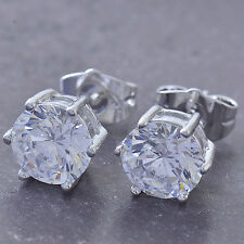 Shiny 9K White Gold Filled Round Cubic Zirconia Ladies Stud Earrings F5242