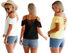 Womens Crisscross Back Ruffle Cold Shoulder Tea Top Size 14 16