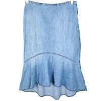 LAUREN JEANS CO Ralph Lauren High Low Asymmetrical Denim Skirt Size 8