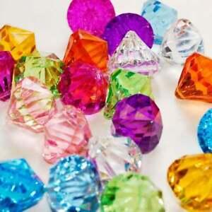 "Bulk 1.5"" Plastic Acrylic Gems Faux Pirate Diamond Pendants DIY Craft Supply LOT"