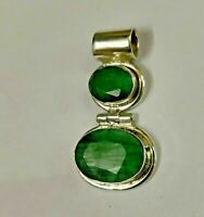 Solid 925 Sterling Silver Emerald Gemstone Pendant Necklace Jewelry