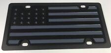 Tactical Black Ops Black Grey Subdued American Flag Steel Premium License Plate