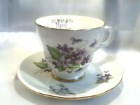 CROWN TRENT STAFFORDSHIRE ENGLAND BONE CHINA CUP & SAUCER PURPLE FLOWERS APRIL