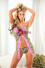 Women Sexy Lingerie Lace Leopard Paint Mini Dress T-Back Babydoll Nightwear 6-12