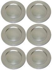 Platzteller Dekoteller Kunststoff Ø 33 cm silber - 6 Teller im Pack used look