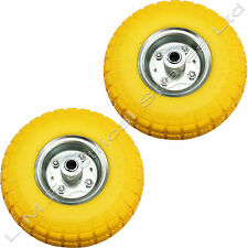 "2 x 10"" Puncture Burst Proof Solid Rubber Sack Truck Trolley Wheels Spare Tyres"