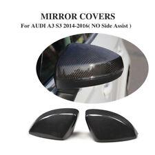 2Pcs Carbon Fiber Side Mirror Cover for Audi A3 S3 RS3 8V 14-17 No Side Assist
