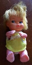 """Vintage Plastic Baby Doll in Yellow Outfit 3"""" Made In Hong Kong"""