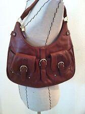 Talbots purse brown genuine leather gold buckles hobo shoulder bag medium size