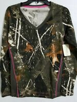 Canyon Guide Outfitters Woman's Camo Long Sleeves Neon Green  Top Size L.320