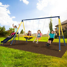 Super Safe Metal Swing Set Kids Playground Slide Outdoor Backyard Children Play
