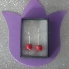 Beautiful Silver Earrings With Red Coral 6.3 Gr.3.5 Cm. Long + Hooks In Gift Box
