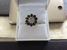 9ct Gold Sapphire & Diamonds cluster ring