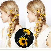 20Pcs Delicate Yellow Sunflower Hair Pins Hair Clips Wedding Bridal Prom Brooch