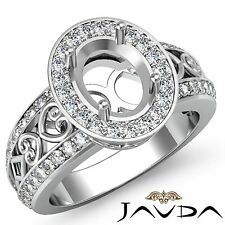 Oval Semi Mount Diamond Engagement Halo Pave Filigree Ring 14K White Gold 0.75Ct