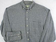 EDDIE BAUER Vtg 90s Black White Gingham Check Plaid LINEN Button Shirt L Large
