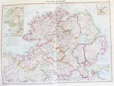 OLD ANTIQUE MAP IRELAND NORTH DUBLIN MAYO BELFAST c1906 by PHILIP PRINTED COLOUR