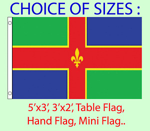 Lincolnshire Flag Choice of Polyester 5x3', 3x2', Hand Flag,Table Flag. Free P&P