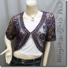 Sequined Embroidery Shrug Glam Bolero Top Purple M