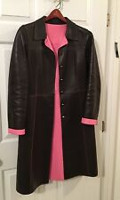 Authentic Prada Brown Leather Coat With Pink Leather Contrast Lining Size 42