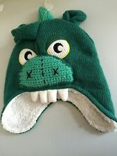 JOHN LEWIS 3 - 6 MONTHS GREEN MONSTER DINOSAUR DRAGON BOYS WINTER HAT