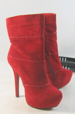 """Womens Red 6""""High Stiletto Heel 2""""Platform Sexy Ankle Boot Size 7"""
