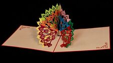 3D Pop-up Peacock card, Any Occasion Thank you Mother's Day card, Colourful Bird