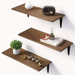 Floating Shelves Wall Mounted Set of 3, Rustic Bamboo Wall Storage Shelves
