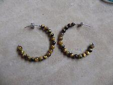 Tiger's Eye beads HOOP Earrings